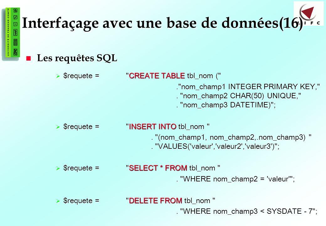 Interfaçage avec une base de données(16)