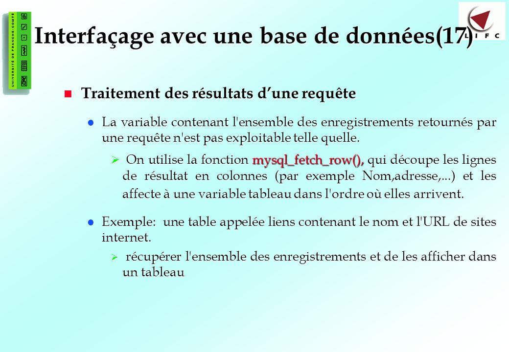 Interfaçage avec une base de données(17)