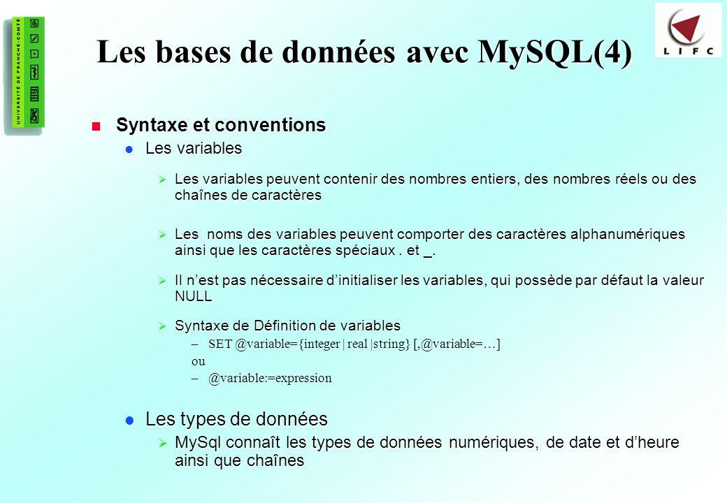 Les bases de données avec MySQL(4)