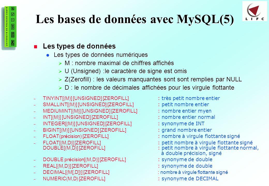 Les bases de données avec MySQL(5)