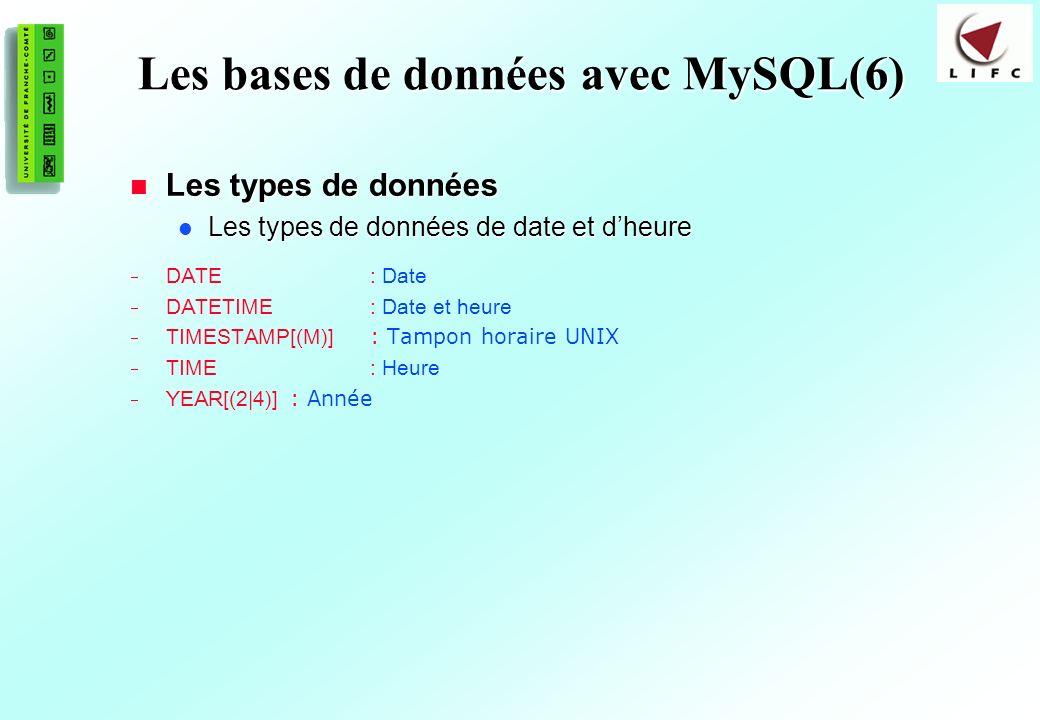 Les bases de données avec MySQL(6)