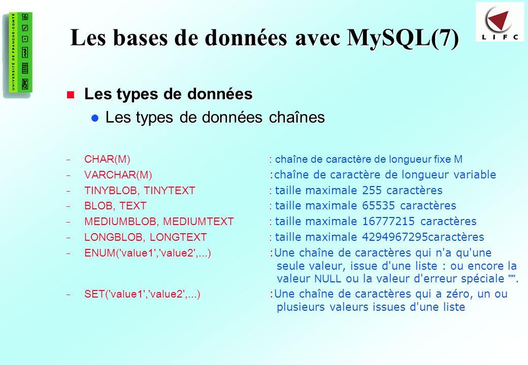 Les bases de données avec MySQL(7)