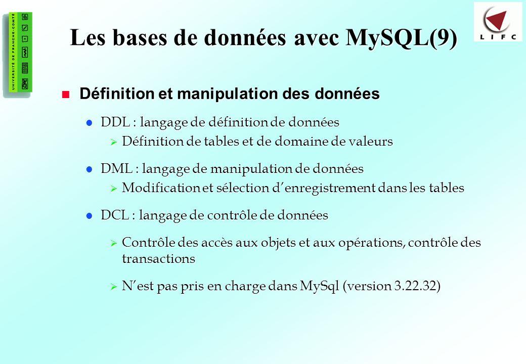 Les bases de données avec MySQL(9)