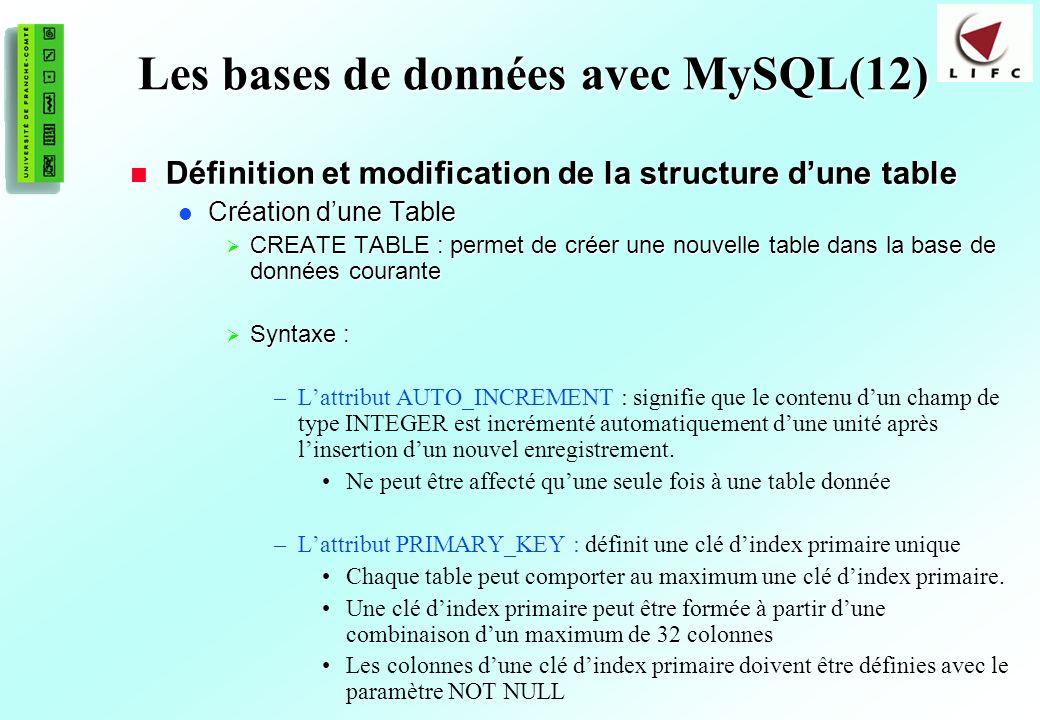 Les bases de données avec MySQL(12)