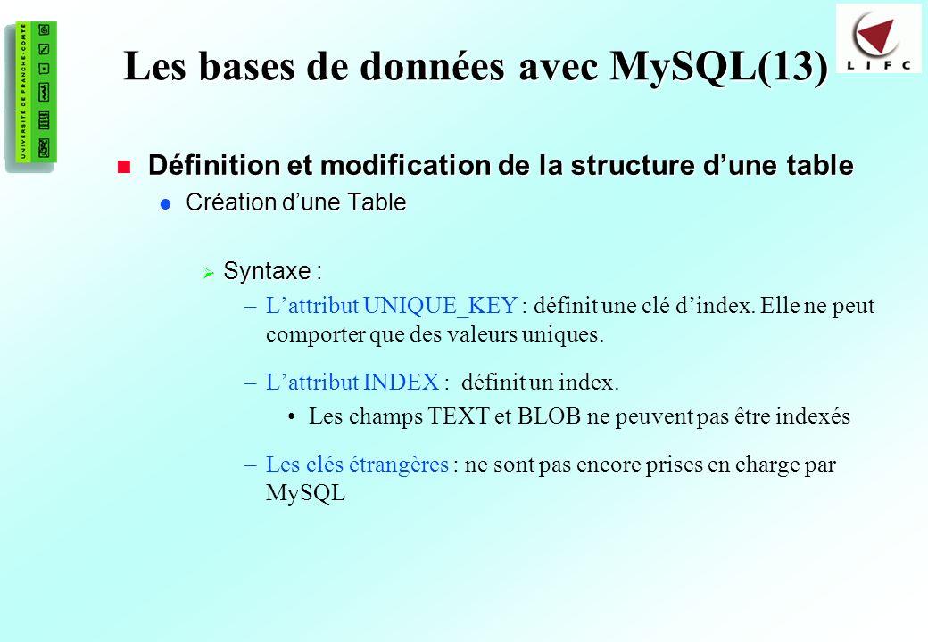 Les bases de données avec MySQL(13)