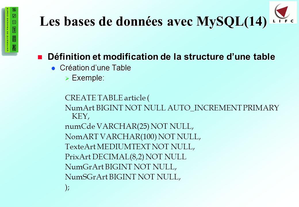 Les bases de données avec MySQL(14)