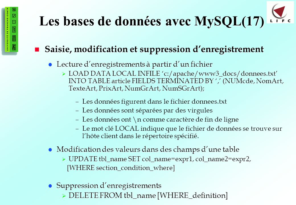 Les bases de données avec MySQL(17)