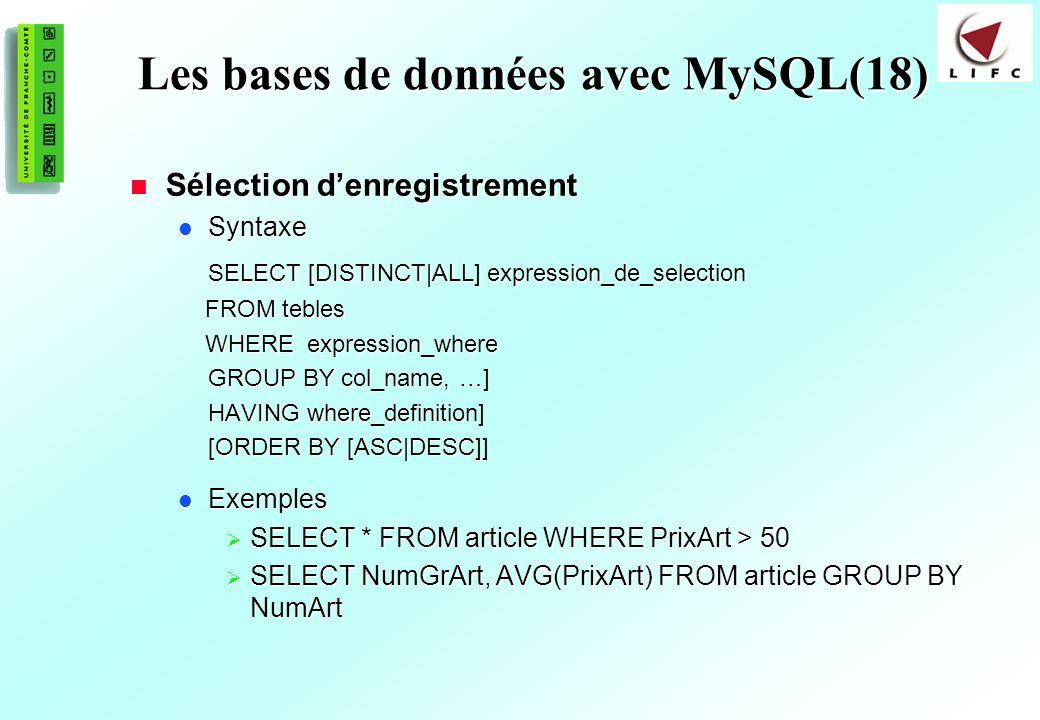 Les bases de données avec MySQL(18)
