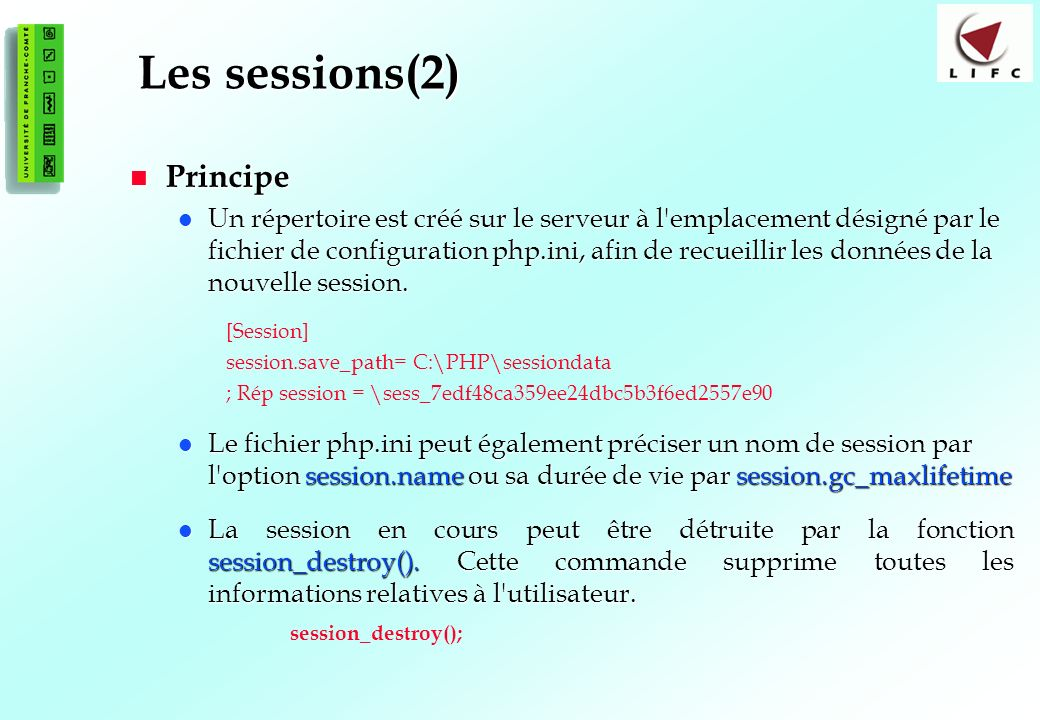 Les sessions(2) Principe