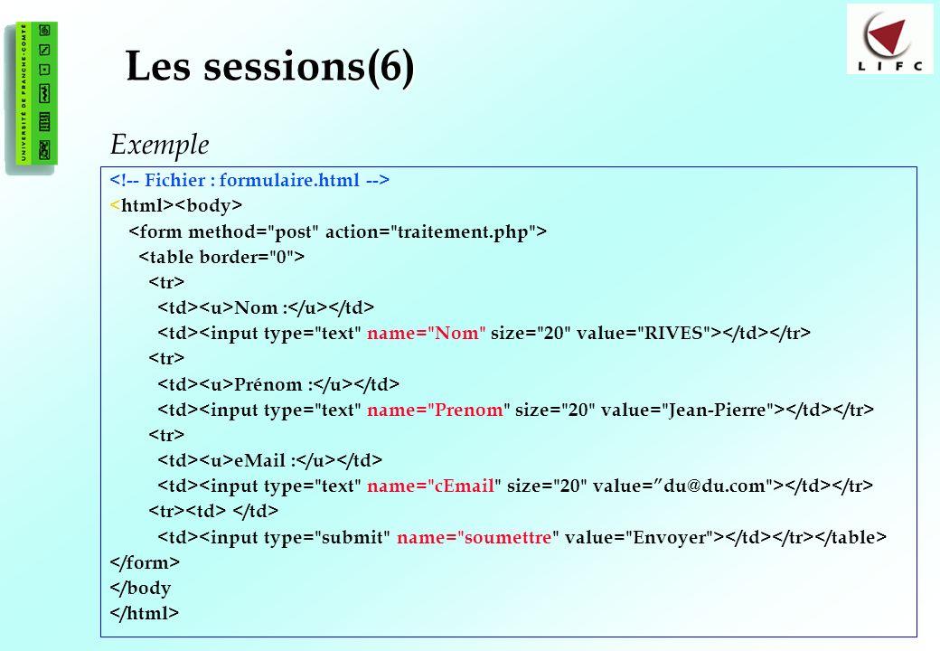 Les sessions(6) Exemple <!-- Fichier : formulaire.html -->