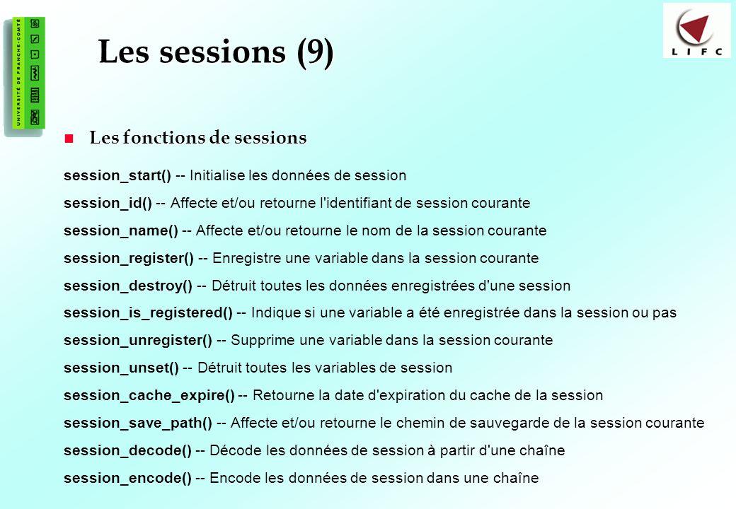 Les sessions (9) Les fonctions de sessions