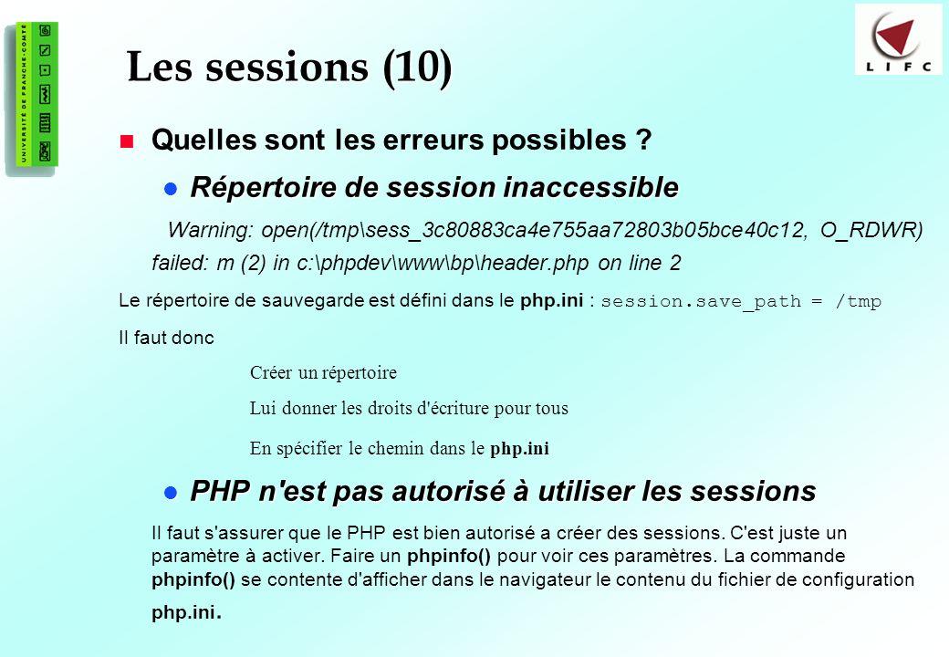 Les sessions (10) Quelles sont les erreurs possibles