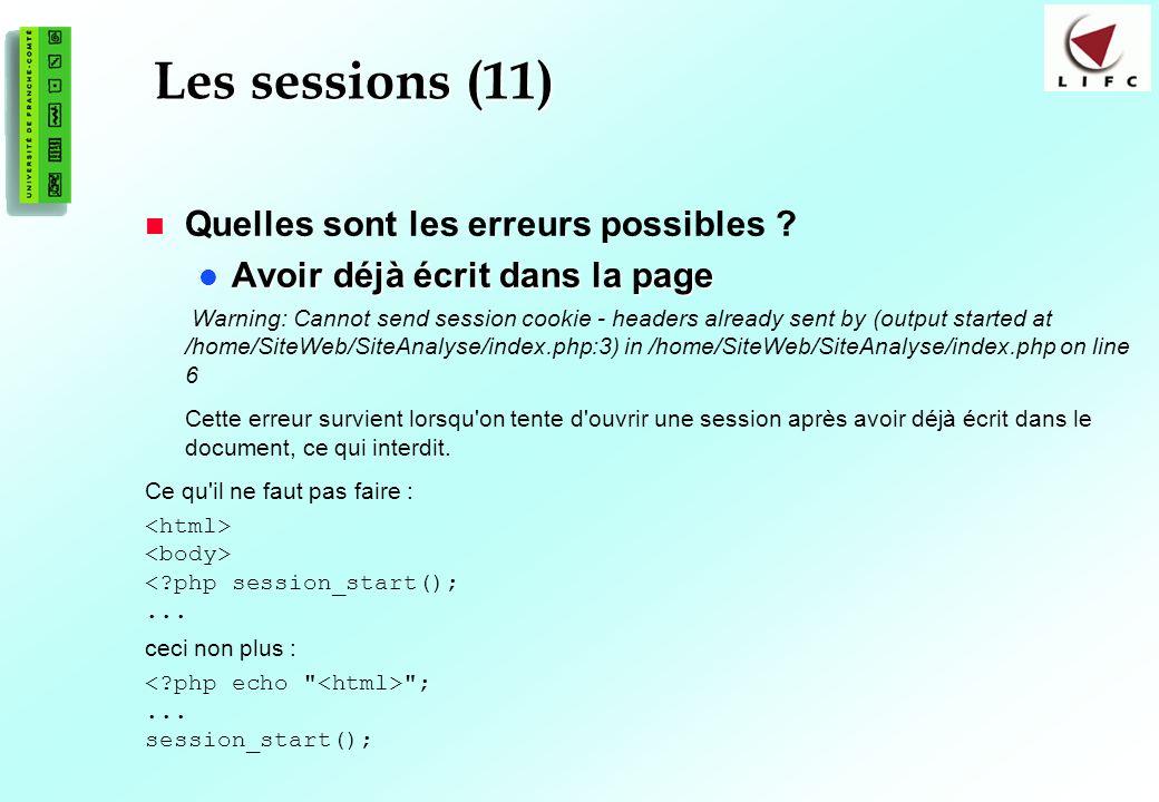 Les sessions (11) Quelles sont les erreurs possibles