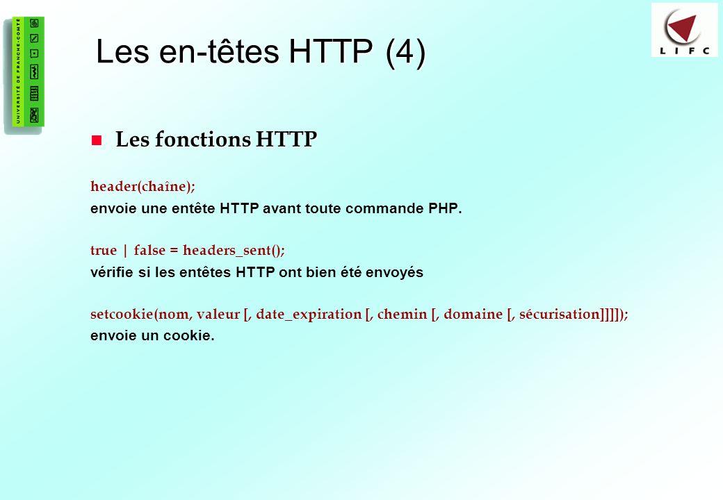 Les en-têtes HTTP (4) Les fonctions HTTP header(chaîne);