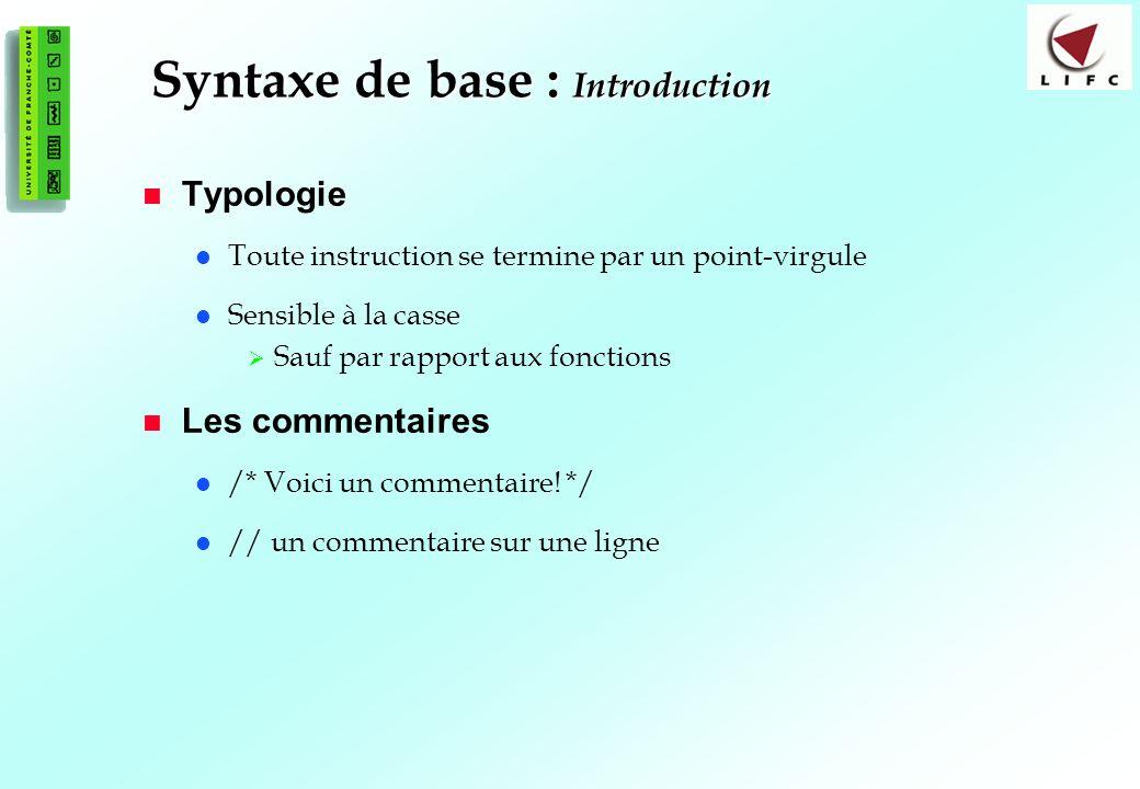 Syntaxe de base : Introduction