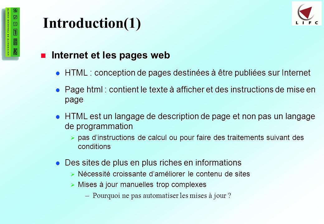 Introduction(1) Internet et les pages web