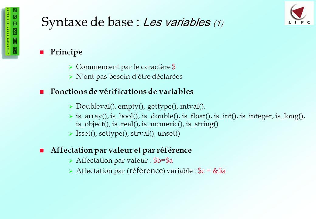 Syntaxe de base : Les variables (1)