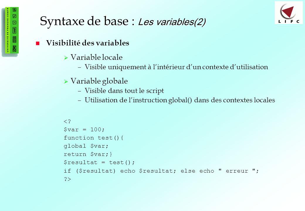 Syntaxe de base : Les variables(2)