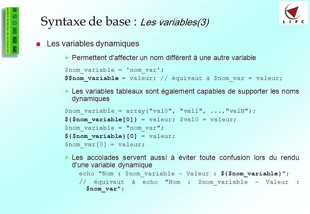 Syntaxe de base : Les variables(3)