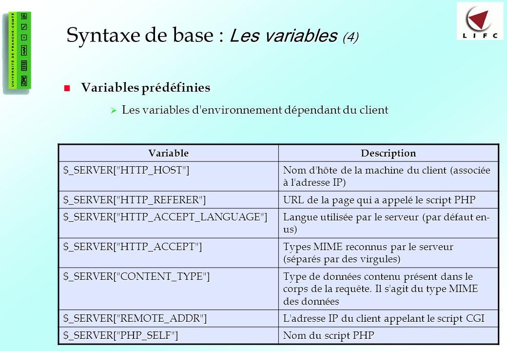 Syntaxe de base : Les variables (4)