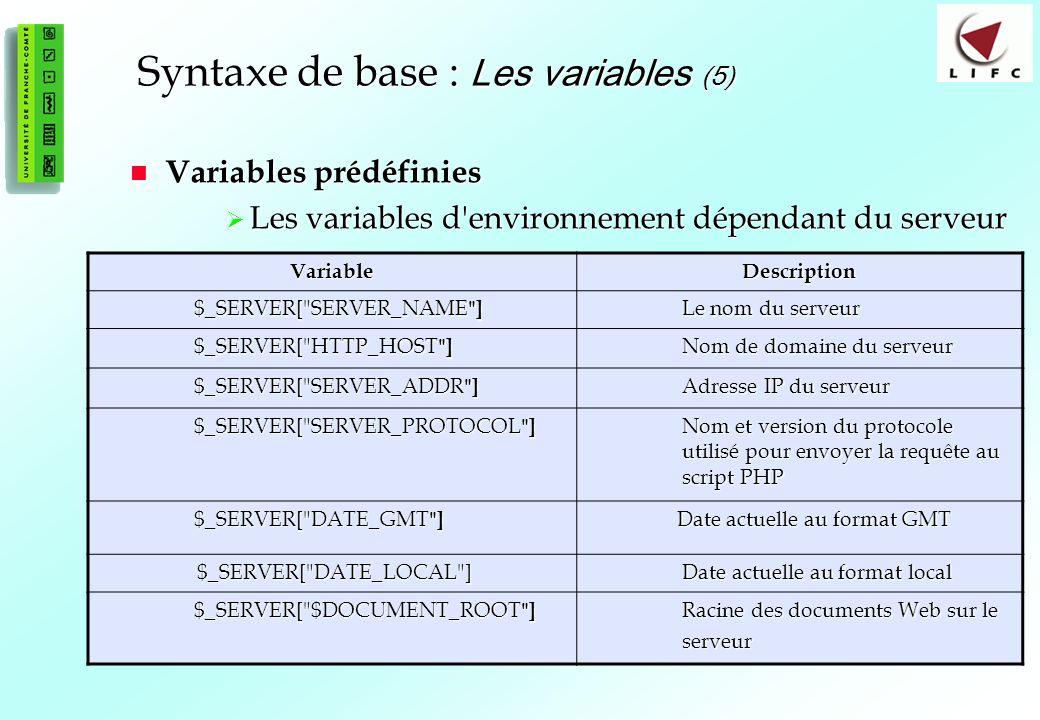 Syntaxe de base : Les variables (5)