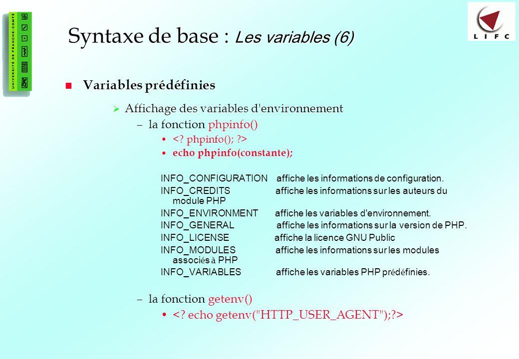 Syntaxe de base : Les variables (6)