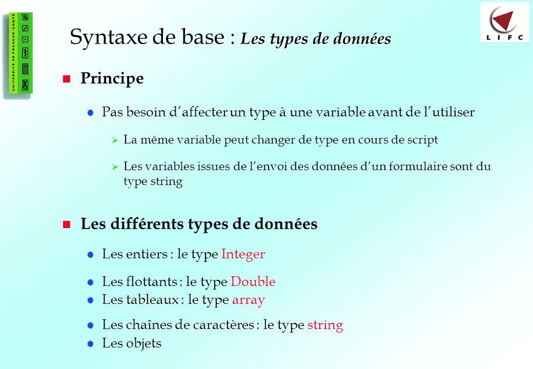 Syntaxe de base : Les types de données