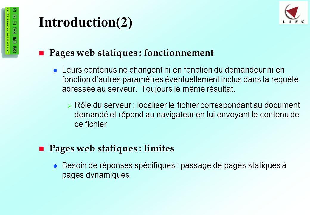 Introduction(2) Pages web statiques : fonctionnement