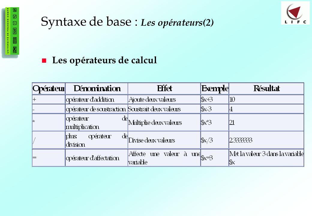 Syntaxe de base : Les opérateurs(2)