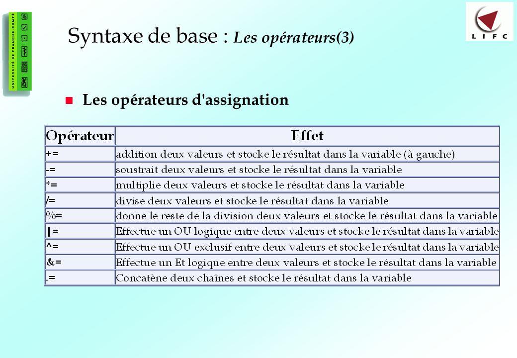Syntaxe de base : Les opérateurs(3)