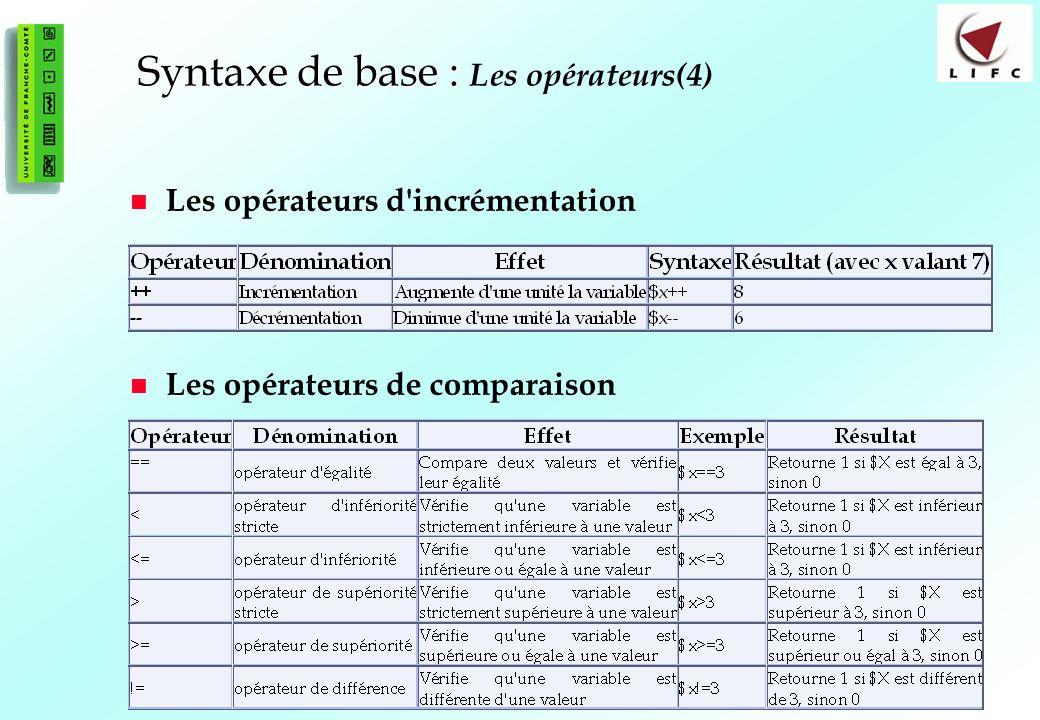 Syntaxe de base : Les opérateurs(4)