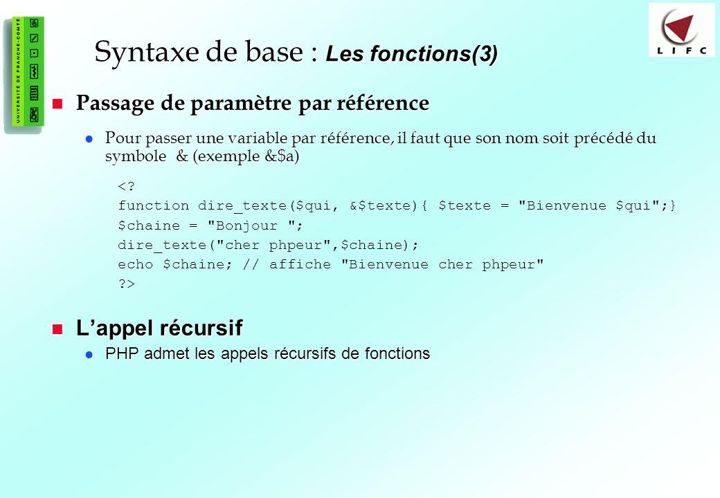 Syntaxe de base : Les fonctions(3)