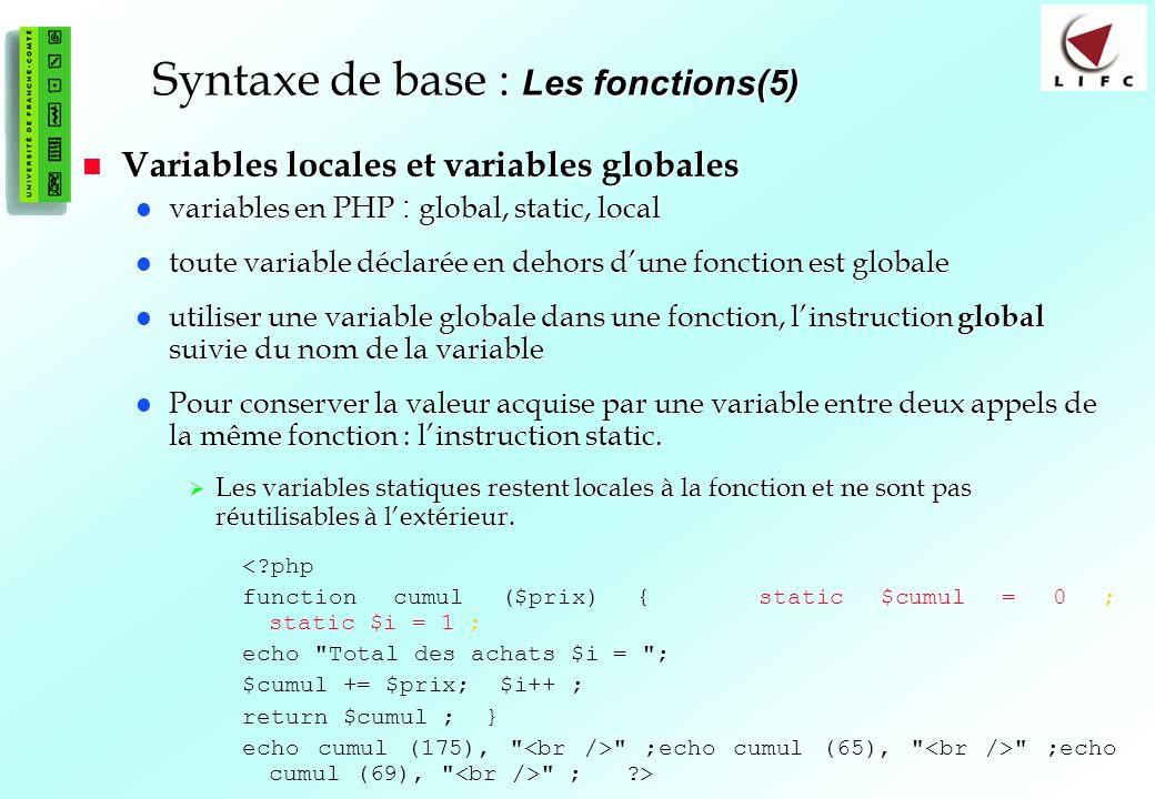 Syntaxe de base : Les fonctions(5)