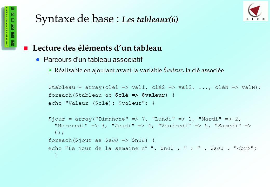 Syntaxe de base : Les tableaux(6)