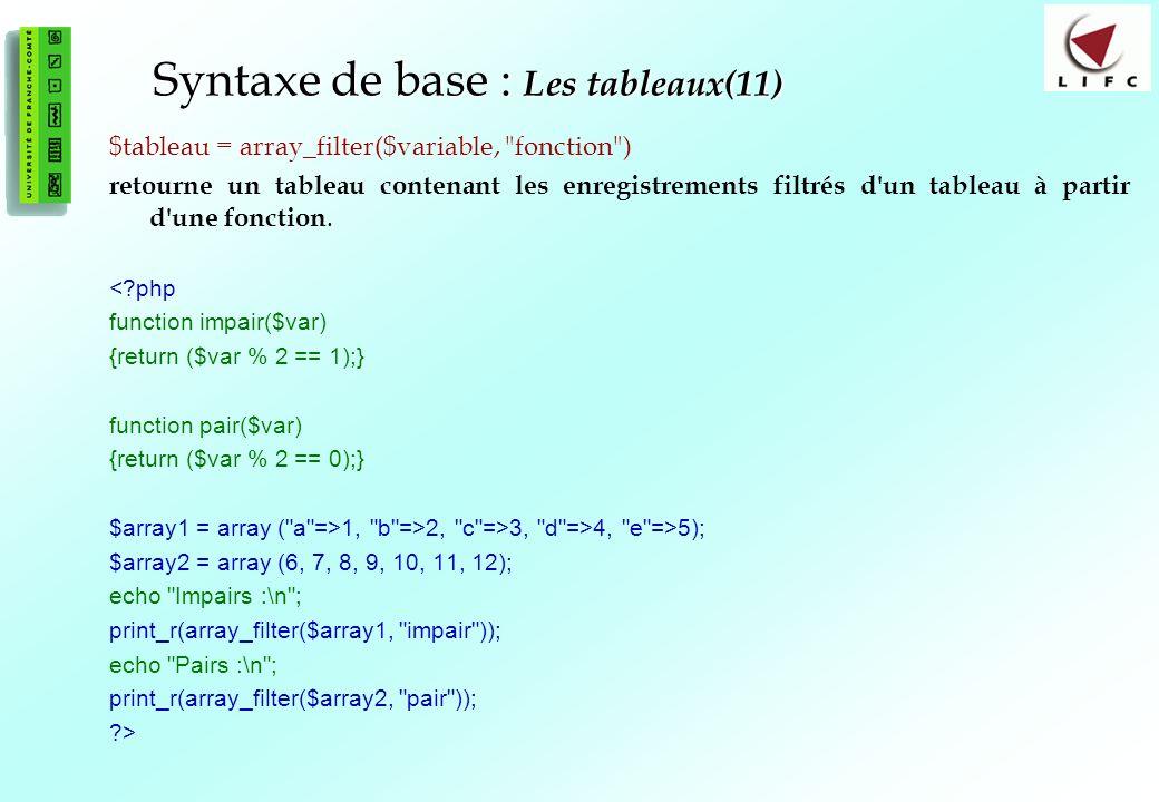 Syntaxe de base : Les tableaux(11)