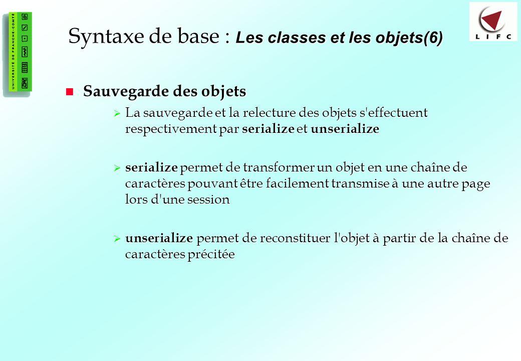 Syntaxe de base : Les classes et les objets(6)