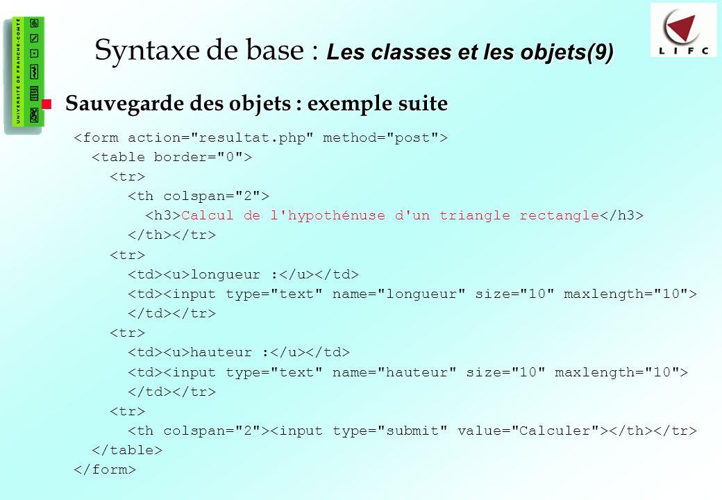 Syntaxe de base : Les classes et les objets(9)