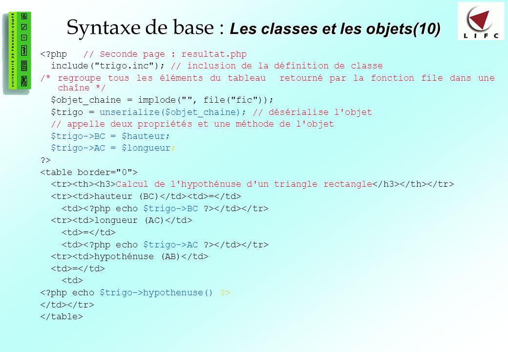 Syntaxe de base : Les classes et les objets(10)