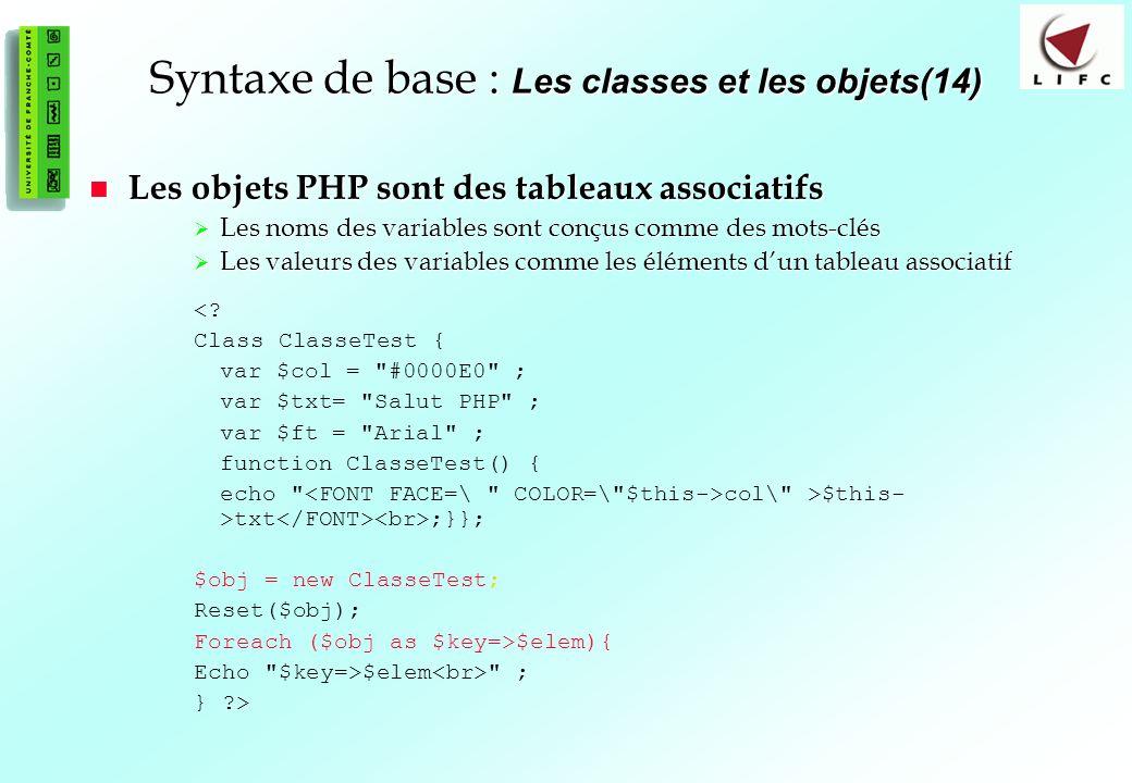 Syntaxe de base : Les classes et les objets(14)