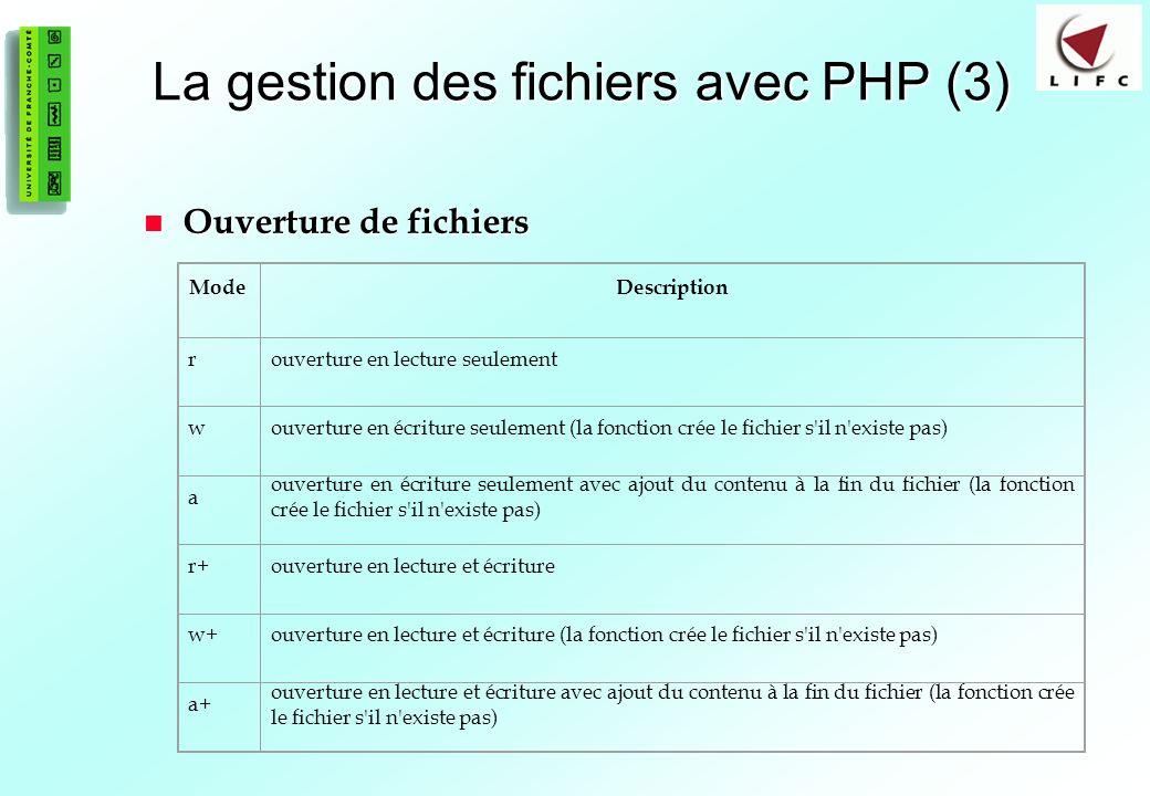 La gestion des fichiers avec PHP (3)