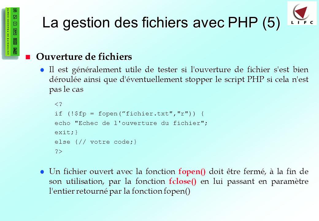 La gestion des fichiers avec PHP (5)