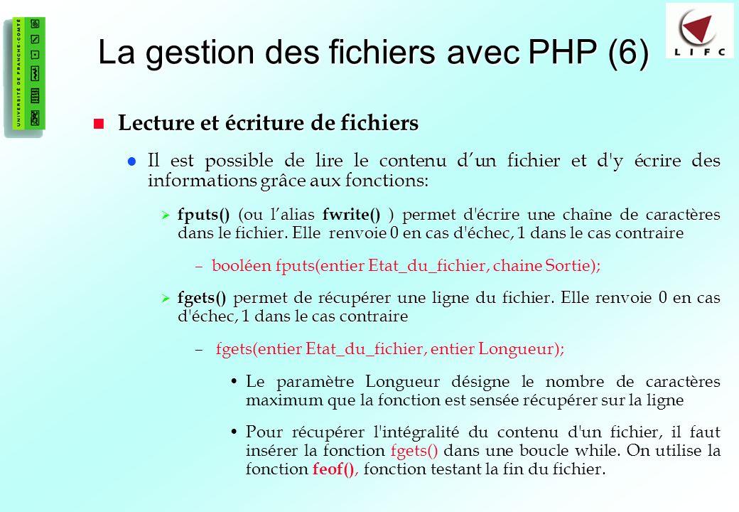 La gestion des fichiers avec PHP (6)