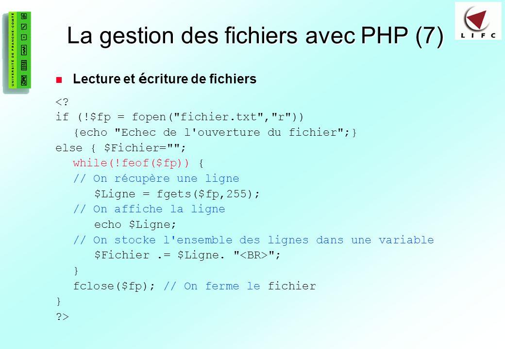 La gestion des fichiers avec PHP (7)