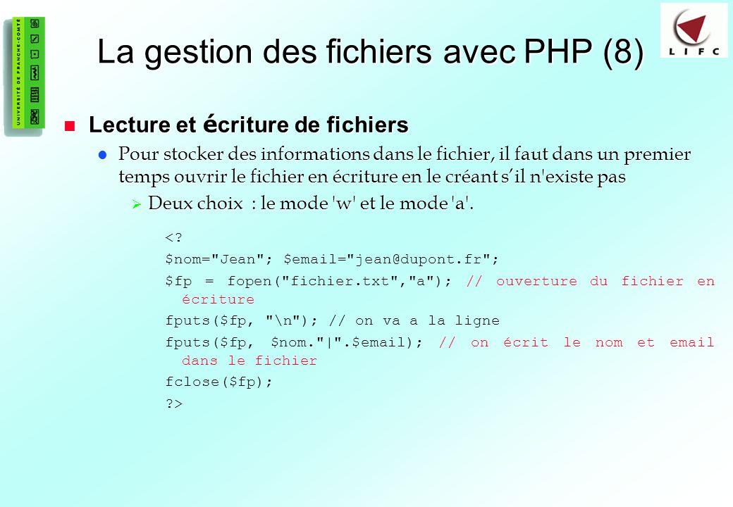 La gestion des fichiers avec PHP (8)