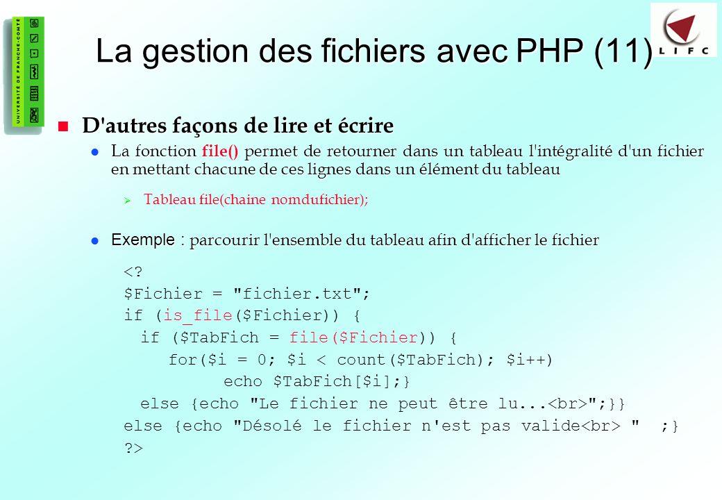 La gestion des fichiers avec PHP (11)