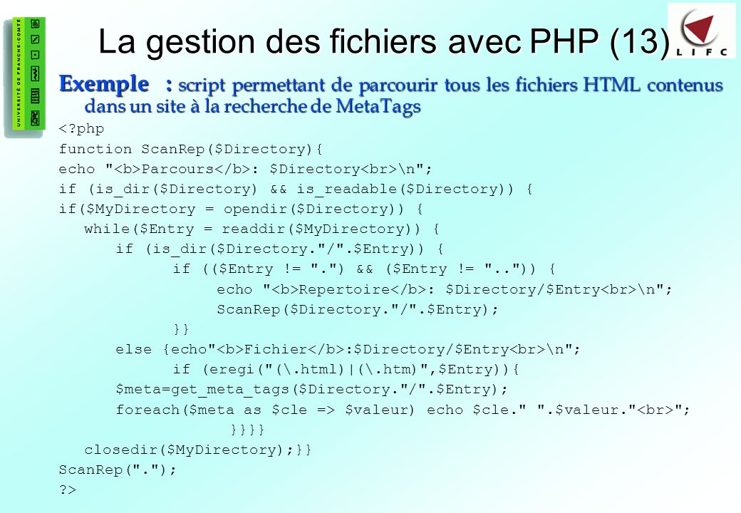 La gestion des fichiers avec PHP (13)