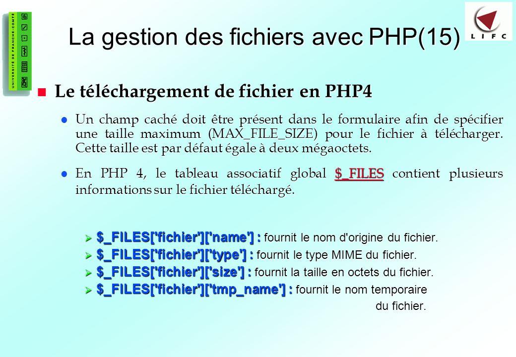 La gestion des fichiers avec PHP(15)