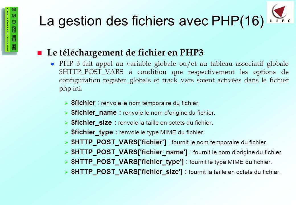 La gestion des fichiers avec PHP(16)