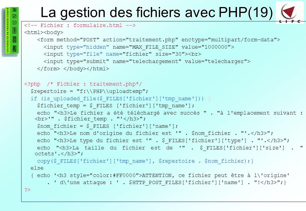 La gestion des fichiers avec PHP(19)