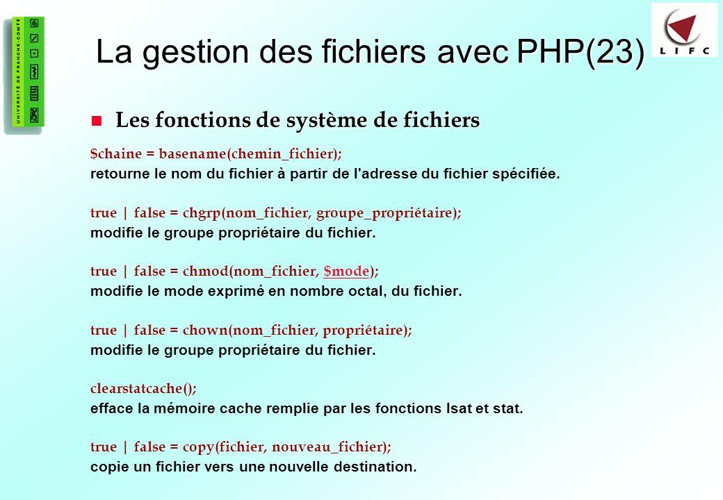 La gestion des fichiers avec PHP(23)